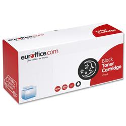 Euroffice remanufactured toner cartridge. Toner cartridge outer packaging is made from 70% recycled card and both the plastic and card used in the packaging can be fully recycled. Euroffice Cartridge Colour Black