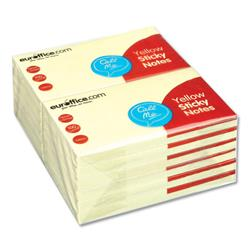 Euroffice Repositionable Sticky Notes 76x127mm 100 Sheets per Pad Yellow - Pack 12