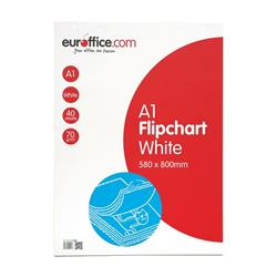 Top quality A1 flipchart pad. Specially coated 70gsm paper to prevent ink bleeding through. 40 perforated sheets for easy tear-off and storing. Size: A1 813x584mm. Packed 5.