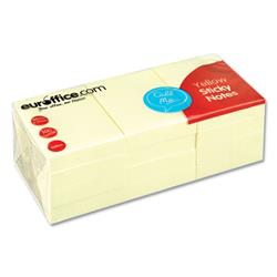 Yellow self-adhesive, repositionable sticky notes that will stick to most surface. 100 sheets per pad. Size: 38 x 51 mm (1.5 x 2 inch). 12 pads per pack.