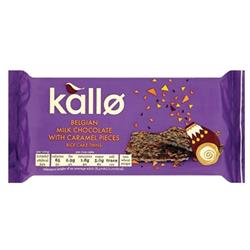 Kallo Gluten-free Rice Cake Thins Milk Chocolate and Caramel 90g Ref A07899