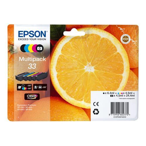 Foto OrigEpson C13T33374010 Multipack 5 RS Claria Premium T33/ARANCIA Inkjet
