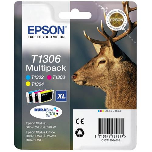 Foto Epson T1306 Cartuccia Originale 3 colori C13T13064010 Inkjet