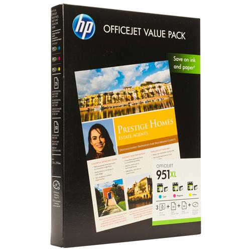 Foto 3 cartucce originali HP 951XL colore + 75 fogli carta fotografica A4 Inkjet