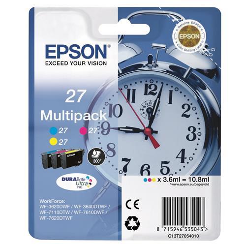 Foto Multipack originale Epson T27 - tricromia - C13T27054010 - conf. 3 Inkjet
