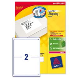 Avery L7168 White Laser Labels 199.6x143.5mm 2 per page Ref L7168-100 - 100 sheets - 3 for 2