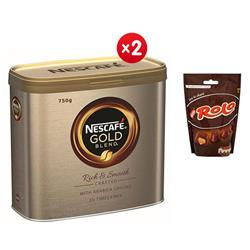Nescafe Gold Blend Instant Coffee Tin 750g Ref 12284102  - x2 + FREE 4 x Rolo Pouches