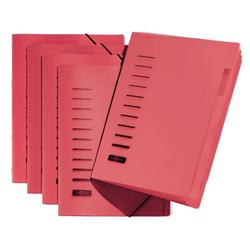 Pagna Classic 6 Part File Elastic Corner Straps Polypropylene A4 Red Ref 4005601 [Pack 5]