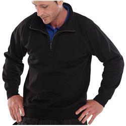 Image of Click Workwear Quarter Zip Sweatshirt Black L - CLQZSSBLL