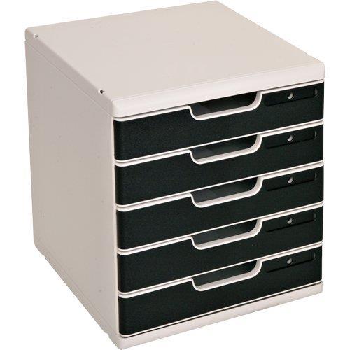 Foto Cassettiera Modulo A4 Multiform grigio/nero 5 Cassetti Cassettiere da scrivania