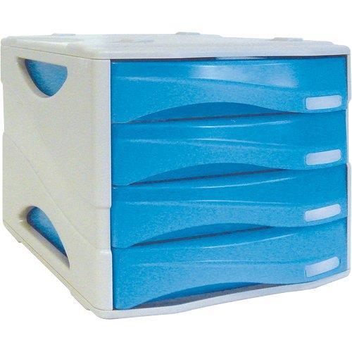 Foto Cassettiera Smile Arda blu traslucido 4 cassetti Cassettiere da scrivania