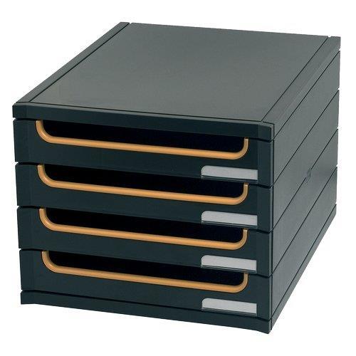 Foto Cassettiera riciclata Exactive Multiform 4 cassetti semiaperti nero/ Cassettiere da scrivania