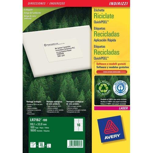 Foto Etichette adesive per indirizzi riciclate 63,5x38,1 mm 2100 pezzi Etichette per indirizzi