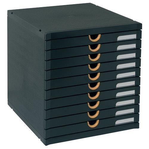 Foto Cassettiera riciclata Exactive Multiform nero/arancio 10 cassetti Cassettiere da scrivania