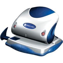 Perforatore Premium Rexel - 2 fori - argento/blu - 40 fogli