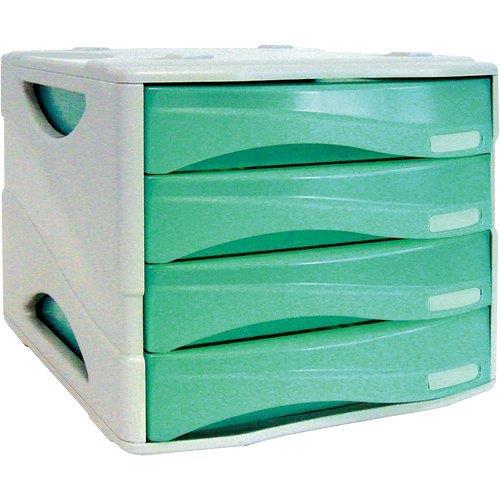 Foto Cassettiera Smile Arda verde traslucido 4 cassetti Cassettiere da scrivania