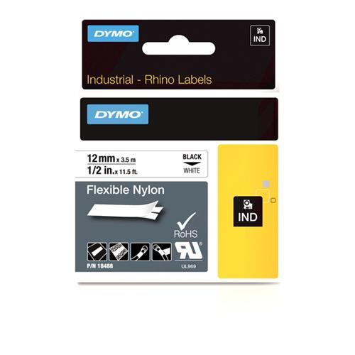 Foto Etichette Dymo Rhino - 12 mm x 3,5 m - nylon flessibile - bianco Etichette e Nastri