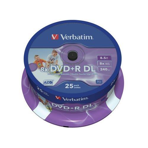 Foto DVD+R Spindle stampabili Verbatim - 8,5 Gb - DL - 8x - conf. 25 DVD R