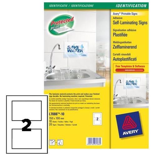 Foto Cartelli adesivi autoplastificati Avery-bianco-100x150mm-2 pz/ff