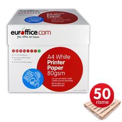 Carta A4 Euroffice - 80 g/mq - per stampe e copie - 50 risme