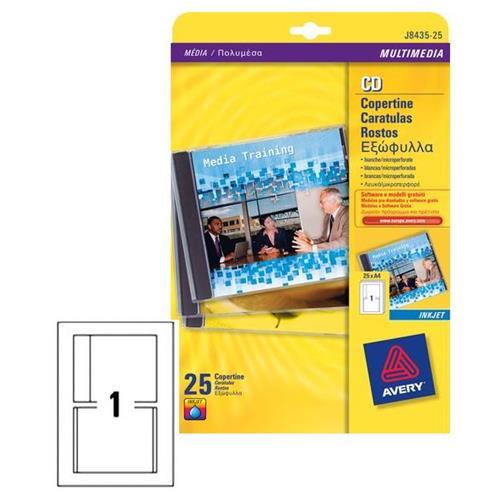 Foto Copertine fronte/retro per CD Avery - inkjet - bianco - conf. 50 Etichette per CD e DVD