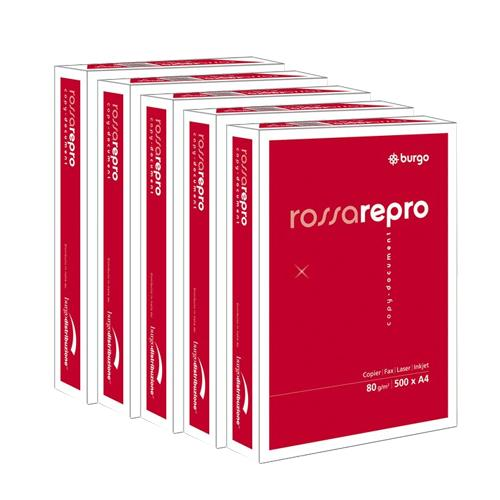 Carta A4 Rossa Repro 80 Burgo - carta A4 offerta per stampanti - 80 g/mq - 5 risme