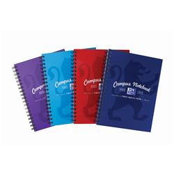 Oxford Campus Notebook Hardback Wirebound Ruled & Margin 90gsm B5 Assorted Ref 400086366 [Pack 5]