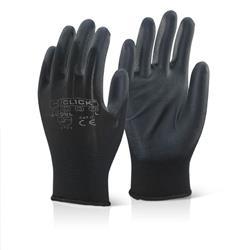 Click2000 Economy Pu Coated Gloves Black M Ref EC9BLM [Pack 100]
