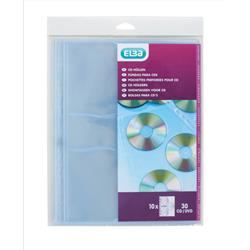 Elba CD/DVD Punched Pocket Polypropylene Clear Ref 100206995 [Pack 10]