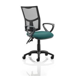 Eclipse II Lever Task Operator Chair Black Mesh Back With Colour Seat With Loop Arms In Kingfisher Ref KCUP1023