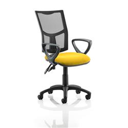 Eclipse II Lever Task Operator Chair Black Mesh Back With Colour Seat With Loop Arms In Sunset Ref KCUP1021
