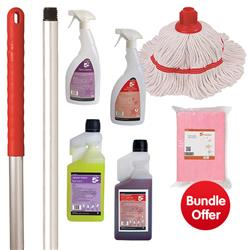 Washroom Cleaning Bundle with Mop/Cloths/Cleaning Fluids - BUNDLE OFFER