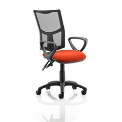 Eclipse II Lever Task Operator Chair Black Mesh Back With Colour Seat With Loop Arms In Pimento Ref KCUP1020