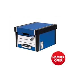 Bankers Box by Fellowes Premium 725 Classic Storage Box Inside Blue White Ref 7250603 [Pack 10] - 3 for 2 & Christmas Hamper Offer