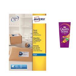 Avery J8168 Inkjet Labels 100 per sheet 199.6x143.5mm Ref J8168-100 - 200 Labels - FREE Quality Street Chocolates 265g
