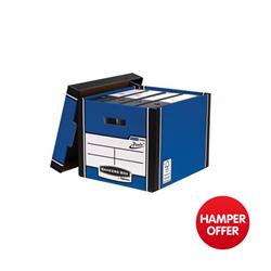 Bankers Box by Fellowes Premium 726 Archive Storage Box Blue and White Ref 7260602 [Pack 10] - 3 for 2 & Christmas Hamper Offer