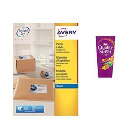 Avery J8167 Inkjet Labels 1 per sheet 199.6x289.1mm Ref J8167-100 - 100 Labels - FREE Quality Street Chocolates 265g
