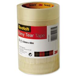 Scotch Easy Tear Transparent Tape 25mmx66m Ref ET2566T6 - [Pack 6] - 3 for 2