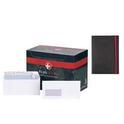 Plus Fabric Envelopes Wallet Peel and Seal Window 110gsm DL White - [Pack 500] - FREE Black n Red A5 Business Journal