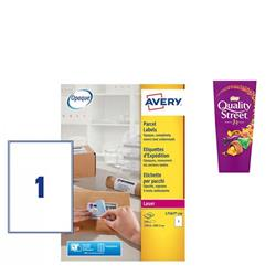 Avery L7167 Laser Printer Labels 199.6x289.1mm Ref L7167-250 - [Pack 250] - FREE Quality Street Chocolates 265g