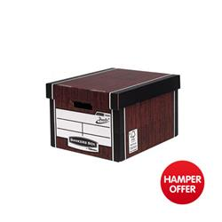Bankers Box by Fellowes Premium 725 Classic Storage Box Woodgrain Ref 7250502 [Pack 10] - 3 for 2 & Christmas Hamper Offer