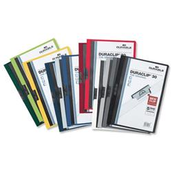 Durable Duraclip Folder PVC Clear Front 3mm Spine for 30 Sheets A4 Assorted Ref 2200/00 - Pack 25 - 2 for 1
