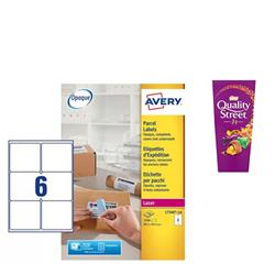 Avery L7166 Laser Printer Labels 99.1x93.1mm Ref L7166-250 - [Pack 1500] - FREE Quality Street Chocolates 265g