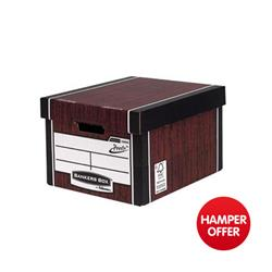 Bankers Box by Fellowes Premium 726 Archive Storage Box Woodgrain Ref 7260502 [Pack 10] - 3 for 2 & Christmas Hamper Offer
