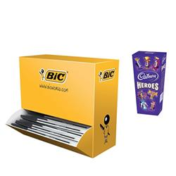 Bic Cristal Ball Pen Clear Barrel 1.0mm Tip 0.4mm Line Black Ref 896040 [Pack 90 + 10 FREE] - FREE Cadbury Heroes Chocolates 185g