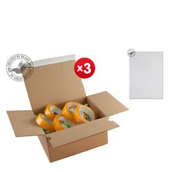 Blakes Postal Box Peel & Seal WxDxH 230x160x80mm Kraft Ref PEB30 [Pack 20] - x3 & FREE Premium Paper