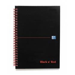 Black n Red Book Wirebound Smart Ruled and Perforated 90gsm 140pp A5 Matt Black Ref 100080192 - [Pack 5] - 2 for 1