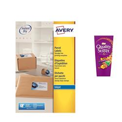 Avery J8166 Inkjet Address Labels 99.1x93.1mm 6 per Sheet Ref J8166-100 - [Pack 600] - FREE Quality Street Chocolates 265g