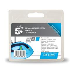 5 Star Office Remanufactured Inkjet Cartridge Page Life 700pp Cyan [HP No. 920XL CD972AE Alternative]