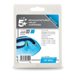 5 Star Office Remanufactured Inkjet Cartridge Page Life 1200pp Cyan [HP No. 88XL C9391A Alternative]